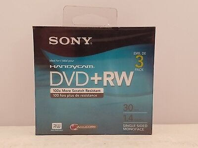 SONY Handycam Mini DVD+RW for DVD Camcorders 3-Pack | 30 min | 1.4 GB 3DPW30R2HC