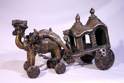 Antique Temple Toy India Handmade Brass Ghora Rath Horse Carriage Bells EXLNT