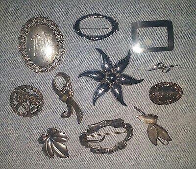 11 Vintage Antique Sterling Silver Pin Brooch Lot Scarf FLOWER 114.g Not Scrape