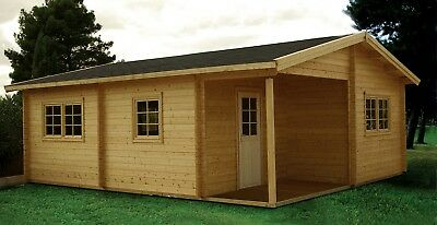 DIY 20ft x 24ft 400 sq ft 3 room Log Cabin Kit with 54 sq ft covered porch