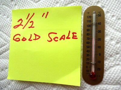 2.50 inch thermometer tube on 3/4 inch x 3 inch gold backing scale
