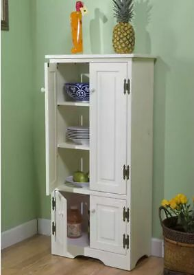Food Storage Cabinet Kitchen Pantry Tall White Shelves Double Door Country Style