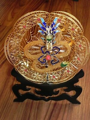 Beautiful Mythical Gold Dragon Fantasy Round Plate Detailed Wire Art Decor 8""