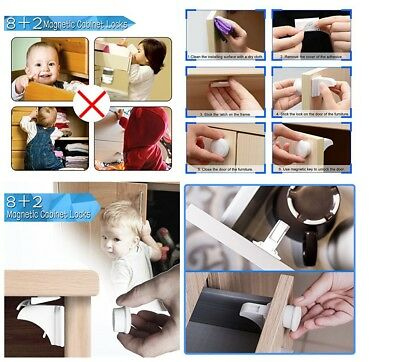 Pack Of 8 Magnetic Child Proof Baby Safety Locks For Cabinets & Drawers White