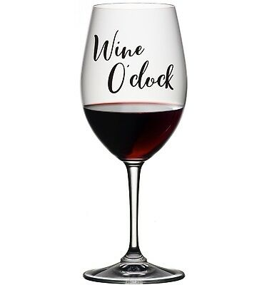 3 x WINE O'CLOCK VINYL STICKERS DECALS FOR GLASS AVAILABLE IN 24 COLOURS GIFT