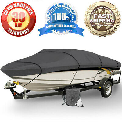 New Gray Heavy Duty 12Ft - 14Ft Trailerable Boat Storage Cover With Elastic Hem