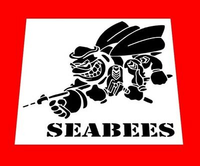 """USN * UNITED STATES NAVY SEABEES STENCIL  *FREE USA S&H* 12"""" x 12"""" (Inches)"""