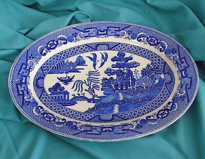 Vintage Blue Willow Platter, Marked Made in Japan