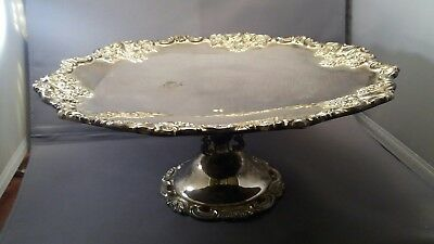 Vintage Wallace Silver Plate Footed Cake ~ Serving Tray ~ Baroque Pattern ~ VGC