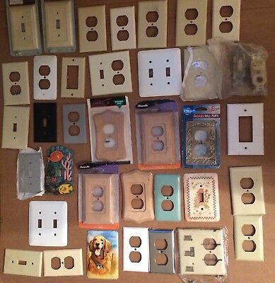 7 Vintage Ornate White Metal Light Switch/Outlet Cover/Plate Lot