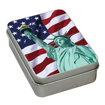 Ohio Blue Tip Matches In American Flag Tin Made is USA Set of Two