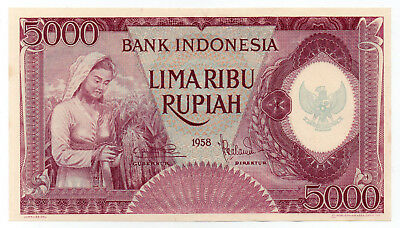 1958 Indonesia 5000 Rupiah Lilac Purple Pick 64 Aunc