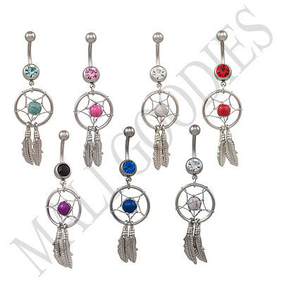 V136 Dream Catcher Belly Navel Ring Feather Clear Turquoise Pink Red Purple Blue