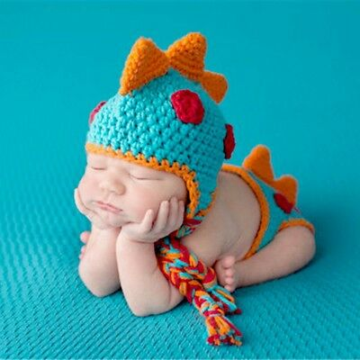Crocheted Baby Dinosaur Outfit Newborn Photography Props Handmade Knitted