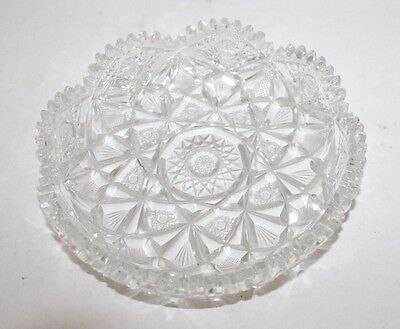 """Stunning Antique Hawkes ABP American Brilliant Period Cut Glass 8"""" Bowl Signed"""