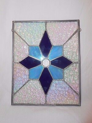 Stained Glass Snowflake Suncatcher Winter Star Window Hanging Blue Opalescent