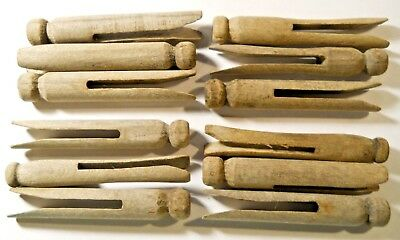 """Lot of12 Vintage Round Flat Head Weathered 3 3/4"""" Wooden Clothespins Primitive"""