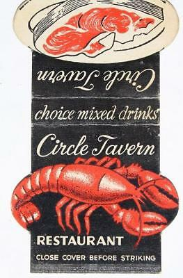 1950-60s Indianapolis,Indiana Circle Tavern Lobster-Steak diecut matchbook cover