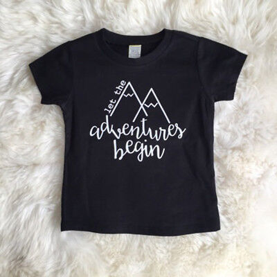 Infant Toddler Baby Boys Kids Letter Print T-shirts Tops Casual Tees Shirts1-6Y