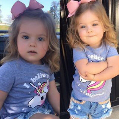 Cute Baby Girls Unicorn T-shirts Summer Tops Toddler Kids Tees Shirts Outfits