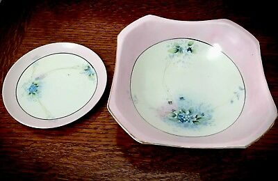 Rare Vintage Unusual Style Nippon Hand Painted Floral Bowl And Holding Plate