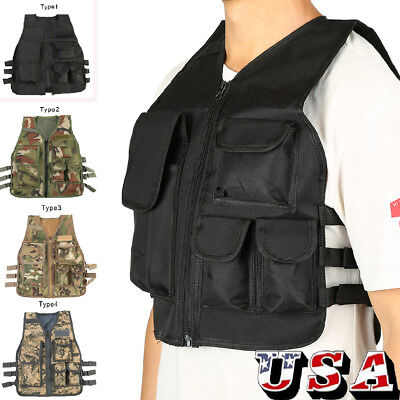 Kids Tactical Military Vest CS Game Airsoft Molle Combat Assault Plate Carrier