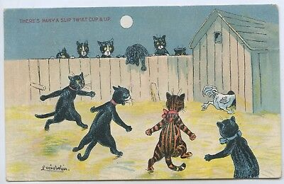 C.1907 Pt Postcard Louis Wain Comical There's Many A Slip Twixt Cup & Lip Y69