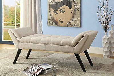 Baxton Studio Linen Fabric Upholstered Grid Tufting 50 Inch Bench