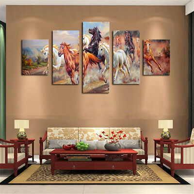 5Pcs Horses Wall Painting Canvas Living Room Art Print Picture Decor Unframed