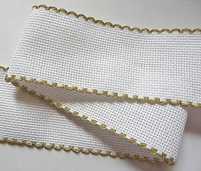 """1 m White 16 count Aida band 2"""" 50mm wide gold scallop edge Zweigart"""