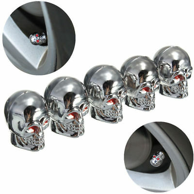10Pcs Red Eyes Evil Skull Tyre Tire Air Valve Stem Dust Caps For Car Bike Truck