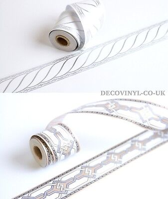 Modern Silver Border Wallpaper Self Adhesive Sticky Back Plastic Gold Decor Luxe