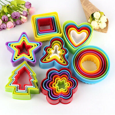 Plastic 3D Cookie Cutter Mold Set Biscuit Cake Fruit Cutter Baking Accessories W