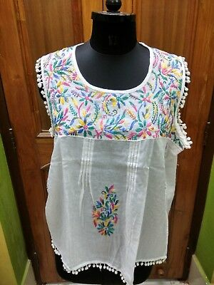 "Xl 44"" Ethnic Cotton Chikan Embroidery Sleeveless Kurti Handmade Top Kurta Tunic"