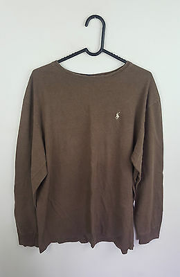 Mens Vtg Brown Ralph Lauren Logo Only Long Sleeve Top Thin Jumper Vgc Uk L