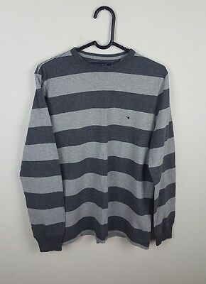 Mens Vtg Tommy Hilfiger Striped Grey Long Sleeve Overhead Thin Jumper Sweater Xs