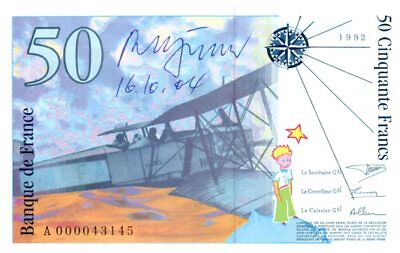 Frankreich 50 Francs, Saint-Exupéry - 1992 - Serial A.000 - Signature of Roger P