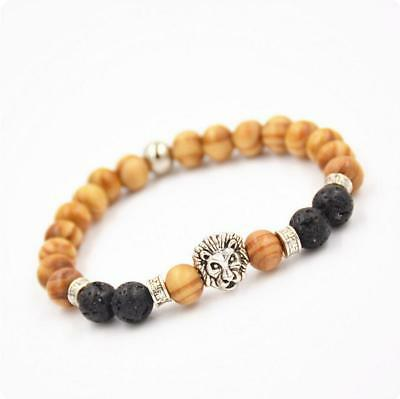8mm Natural Hand Chain Bracelet Stone Wood Beads Ancient Silver Lion Head DIY