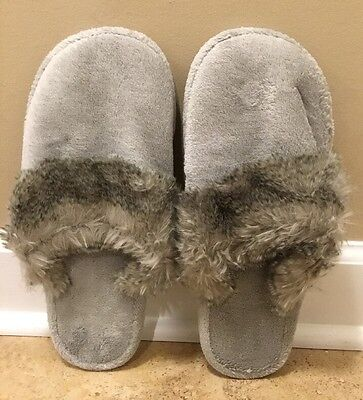 NEW Pottery Barn LARGE Faux Fur Cozy Slippers CHINCHILLA