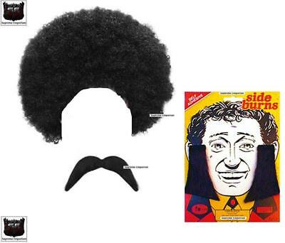 HIPPY HIPPIE 1970s BLACK AFRO DISCO WIG TASH SIDEBURNS 3PC FANCY DRESS COSTUME