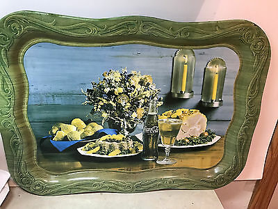 "Vintage Coca Cola 1960's Metal Tray Ham Dinner Flowers 13.5"" X 19"" Hard To Find"