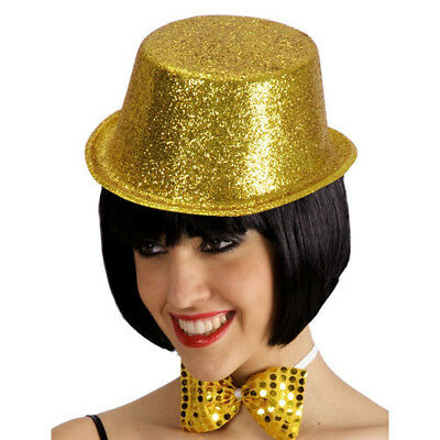 Cappello Cilindro Glitter Oro In Plastica Carnevale Halloween Party