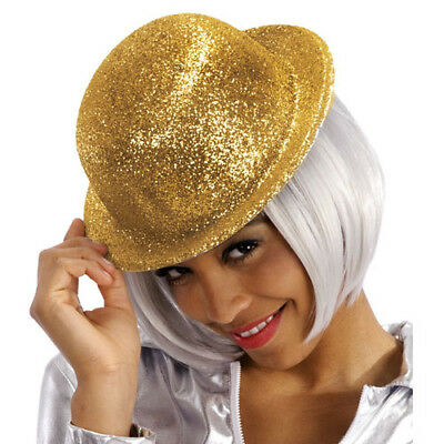 Cappello Bombetta Glitter Oro In Plastica Carnevale Halloween Party