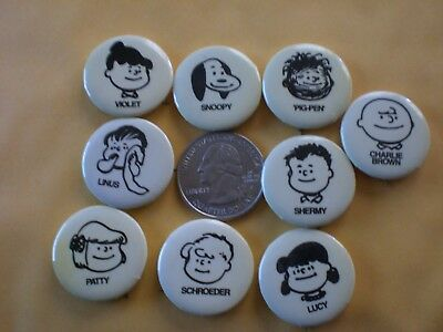 "Vintage ""set Of 9 Peanuts"" Pin Back Button Lot Charlie Brown Snoopy Mint Shape"