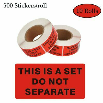 5000 Warning Stickers THIS IS A SET DO NOT SEPARATE Shipping Label Decal 10 Roll