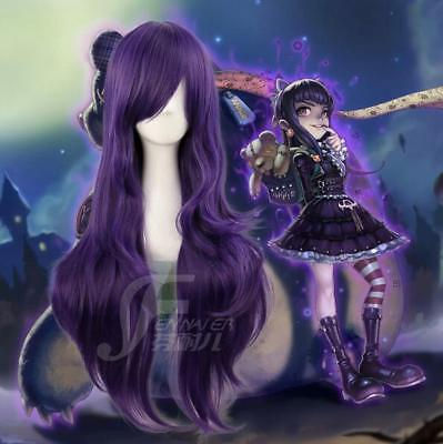 LOL hero alliance annie heat resistant mix purple long curly cosplay wig lady