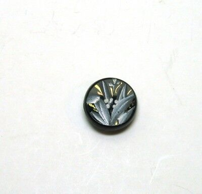 Antique Black Glass Button with Pretty Painted Enamel Flower and Gold Luster