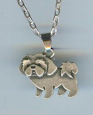 SHIH TZU, Lhasa Apso DOG, Pup Charm, Pendant with .925 Silver Necklace - P742