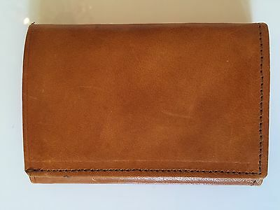 Vintage Camel Brown Mens Leather Trifold Wallet Made In Mexico