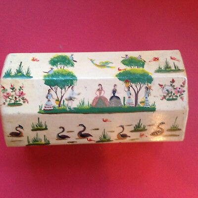 SALVADOR CORONA PAINTED FOLK ART BOX, artist signed, courting scenes